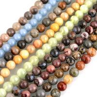 Edelstein Schmuckperlen, rund, verschiedenen Materialien für die Wahl & verschiedene Größen vorhanden, Bohrung:ca. 0.5mm, verkauft per ca. 15 ZollInch Strang