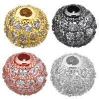 Messing Perle, plattiert, mit kubischem Zirkonia, keine, 8x7.50x8mm, Bohrung:ca. 1.5mm, 20PCs/Menge, verkauft von Menge