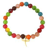 Mode Armband, gefärbte Jade, mit Edelstahl, Libelle, goldfarben plattiert, Armband  Bettelarmband & für Frau & mit Strass, 14x14mm, 8mm, verkauft per ca. 7 ZollInch Strang