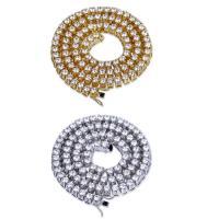 Messing Kette Halskette, plattiert, unterschiedliche Länge der Wahl & für den Menschen & mit kubischem Zirkonia, keine, 10mm, verkauft von Strang