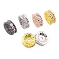 Befestigte Zirkonia Perlen, Messing, Kreisring, plattiert, Micro pave Zirkonia, keine, frei von Nickel, Blei & Kadmium, 10x3.5mm, Bohrung:ca. 1mm, verkauft von PC