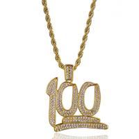 Messing Pullover Halskette, Zahl, vergoldet, Seil-Kette & Micro pave Zirkonia & für Frau, frei von Nickel, Blei & Kadmium, 43x45mm, verkauft per ca. 23.6 ZollInch Strang