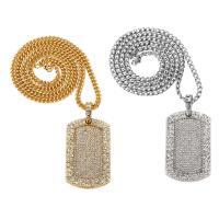 Zinklegierung Pullover Halskette, Rechteck, plattiert, Twist oval & für Frau & mit Strass, keine, frei von Nickel, Blei & Kadmium, 31x52mm, verkauft per ca. 29.5 ZollInch Strang