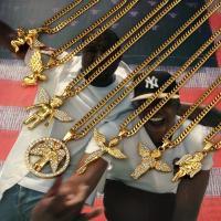 Zinklegierung Pullover Halskette, Engel, goldfarben plattiert, Kandare Kette & verschiedene Stile für Wahl & für Frau & mit Strass, frei von Nickel, Blei & Kadmium, verkauft per 20-31.5 ZollInch Strang