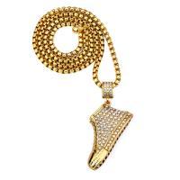 Zinklegierung Pullover Halskette, Schuhe, goldfarben plattiert, Kastenkette & für Frau & mit Strass, frei von Nickel, Blei & Kadmium, 60x48mm, verkauft per ca. 29.5 ZollInch Strang