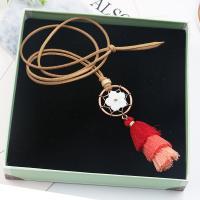 Zinklegierung Pullover Halskette, mit Caddice & Wollschnur & Weiße Muschel, QuasteTroddel, antike Bronzefarbe plattiert, für Frau, keine, frei von Blei & Kadmium, 100mm, verkauft per ca. 35 ZollInch Strang