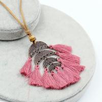 Zinklegierung Pullover Halskette, mit Caddice & Wollschnur & Holz, QuasteTroddel, antike Kupferfarbe plattiert, für Frau, keine, frei von Blei & Kadmium, 70x90mm, verkauft per ca. 35 ZollInch Strang