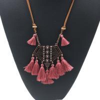 Zinklegierung Pullover Halskette, mit Caddice & Wollschnur & Holz, QuasteTroddel, antike Kupferfarbe plattiert, für Frau, keine, frei von Blei & Kadmium, 80mm, verkauft per ca. 35 ZollInch Strang