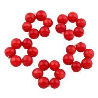 Natürliche Koralle Cluster Perlenball, rot, 5mm, 10PCs/Tasche, verkauft von Tasche
