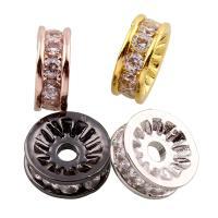 Befestigte Zirkonia Perlen, Messing, Kreisring, plattiert, Micro pave Zirkonia, keine, frei von Nickel, Blei & Kadmium, 8.50x3x8.50mm, Bohrung:ca. 1mm, verkauft von PC