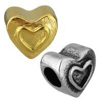 Edelstahl European Perlen, Herz, plattiert, ohne troll, keine, 11x11x9mm, Bohrung:ca. 5mm, 10PCs/Tasche, verkauft von Tasche