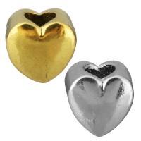 Edelstahl European Perlen, Herz, plattiert, ohne troll, keine, 11x10x8mm, Bohrung:ca. 5mm, 10PCs/Tasche, verkauft von Tasche