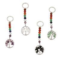 Schlüsselanhänger, Messing, mit Edelstein, silberfarben plattiert, verschiedenen Materialien für die Wahl, 30x36x6.5mm, 25mm, 125mm, verkauft von PC