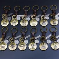 Zinklegierung Schlüsselanhänger, mit Leder, plattiert, verschiedene Stile für Wahl & mit Brief Muster, frei von Nickel, Blei & Kadmium, 110mm, 35x35mm, verkauft von Strang
