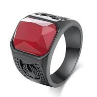 Edelstahl Fingerring, mit Rubin, verschiedene Größen vorhanden & für den Menschen, verkauft von PC