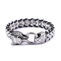 Edelstahl Armband, mit Leder, Wolf, für den Menschen, 13mm, verkauft per ca. 8.5 ZollInch Strang