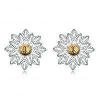comeon® Schmuck Ohrring, 925 Sterling Silber, Blume, plattiert, für Frau, 10mm, verkauft von Paar