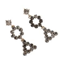Zinklegierung Ohrringe, Edelstahl Stecker, Dreieck, plattiert, für Frau & mit Strass, frei von Blei & Kadmium, 16x41x4mm, 6PaarePärchen/Tasche, verkauft von Tasche