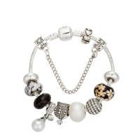 Zinklegierung European Armband, mit Messingkette & Kristall & Lampwork & Kunststoff Perlen, plattiert, Armband  Bettelarmband & unterschiedliche Länge der Wahl & Schlangekette & für Frau & facettierte & mit Strass, frei von Nickel, Blei & Kadmium, verkauft von Strang