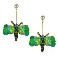 Zinklegierung Tropfen Ohrring, mit Harz & Acryl, Eisen Stecker, Schmetterling, goldfarben plattiert, für Frau, frei von Nickel, Blei & Kadmium, 65x80mm, verkauft von Paar