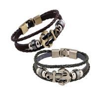 Zinklegierung Armband, mit PU Leder & Non- magnetische Hämatit, Anker, plattiert, für Frau, keine, verkauft per ca. 8.3 ZollInch Strang