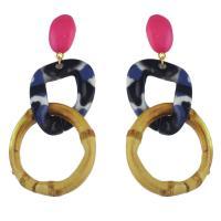 Acryl Tropfen Ohrring, mit Zinklegierung, Eisen Stecker, silberfarben plattiert, für Frau, 50x80mm, verkauft von Paar