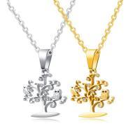 Titanstahl Halskette, Baum des Lebens, plattiert, Oval-Kette & für Frau & mit kubischem Zirkonia, keine, 24mm, verkauft per ca. 18 ZollInch Strang