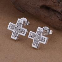 Messing Ohrstecker, Kreuz, versilbert, Micro pave Zirkonia & für Frau, frei von Blei & Kadmium, 10x10mm, verkauft von Paar