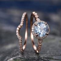 Messing Ring Set, Rósegold-Farbe plattiert, verschiedene Größen vorhanden & für Frau & mit kubischem Zirkonia & mit Strass & hohl, frei von Nickel, Blei & Kadmium, 2PCs/setzen, verkauft von setzen