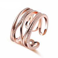 Messing Fingerring, Rósegold-Farbe plattiert, für Frau & mit Strass & hohl, frei von Nickel, Blei & Kadmium, 13mm, Größe:8, verkauft von PC