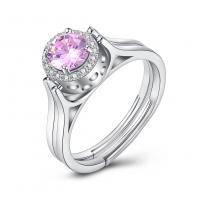 comeon® Finger-Ring, 925 Sterling Silber, flache Runde, platiniert, drehbare & einstellbar & für Frau & mit kubischem Zirkonia, 8mm, Größe:8, verkauft von PC