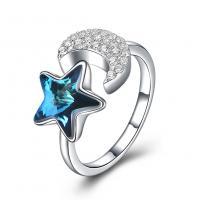 comeon® Finger-Ring, 925 Sterling Silber, mit Österreichischer Kristall, Mond und Sterne, platiniert, einstellbar & Micro pave Zirkonia & für Frau, 11mm, Größe:8, verkauft von PC