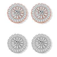 Messing Ohrstecker, plattiert, für Frau & mit kubischem Zirkonia, keine, frei von Nickel, Blei & Kadmium, 18x18mm, verkauft von Paar