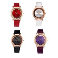 PU Leder Armbanduhr, mit Glas & Strass & Edelstahl & Zinklegierung, Rósegold-Farbe plattiert, für Frau, keine, 39x8mm, Länge:ca. 9 ZollInch, verkauft von PC