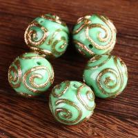 Handgewickelte Perlen, Lampwork, rund, handgemacht, 14mm, Bohrung:ca. 1.5mm, verkauft von PC