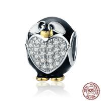 925 Sterlingsilber European Perlen, 925 Sterling Silber, Pinguin, platiniert, ohne troll & Emaille & mit kubischem Zirkonia, 12x11mm, Bohrung:ca. 4.5-5mm, verkauft von PC