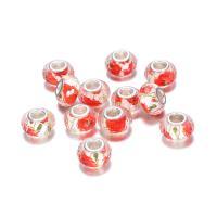 European Acrylperlen, Acryl, Trommel, silberfarben plattiert, einzelne Eisenkern ohne troll, 9x14mm, Bohrung:ca. 4.8mm, 10PCs/Menge, verkauft von Menge