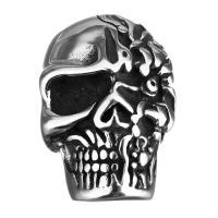 Edelstahl Magnetverschluss, Schädel, Schwärzen, 18x28x19mm, Bohrung:ca. 8.5mm, 10PCs/Menge, verkauft von Menge