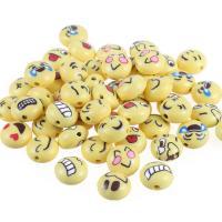 Volltonfarbe Acryl Perlen, flache Runde, gemischtes Muster, gelb, 8x12mm, Bohrung:ca. 1mm, 100PCs/Tasche, verkauft von Tasche