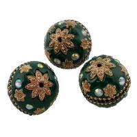 Zinklegierung Perle, mit Indonesien, Trommel, antik silberfarben plattiert, mit Strass, frei von Blei & Kadmium, 24x24mm, Bohrung:ca. 1mm, verkauft von PC
