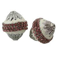 Zinklegierung Perle, mit Indonesien, Platinfarbe platiniert, mit Strass, frei von Blei & Kadmium, 24x22mm, Bohrung:ca. 1mm, verkauft von PC