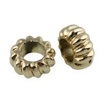 Zinklegierung Großes Loch Perlen, vergoldet, frei von Blei & Kadmium, 9.5x4.5mm, Bohrung:ca. 5mm, verkauft von PC