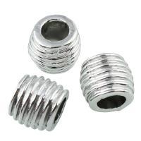 Zinklegierung Großes Loch Perlen, Trommel, Platinfarbe platiniert, frei von Blei & Kadmium, 9x9.5mm, Bohrung:ca. 5mm, 20PCs/Tasche, verkauft von Tasche