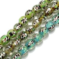 Handgewickelte Perlen, Lampwork, rund, keine, 12mm, Bohrung:ca. 3mm, ca. 30PCs/Strang, verkauft per ca. 16 ZollInch Strang