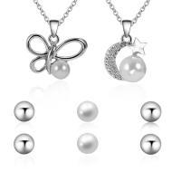 Zinklegierung Mode Schmuckset, Halskette, mit ABS-Kunststoff-Perlen & Eisenkette, mit Verlängerungskettchen von 5cm, Platinfarbe platiniert, Oval-Kette & für Frau & mit Strass, frei von Blei & Kadmium, Länge:ca. 17.5 ZollInch, verkauft von setzen