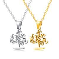 Edelstahl Schmuck Halskette, mit Verlängerungskettchen von 50mm, Baum, plattiert, Oval-Kette & Micro pave Zirkonia & für Frau, keine, 24mm, verkauft per ca. 17.7 ZollInch Strang