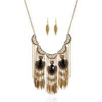 Zinklegierung Mode Schmuckset, Ohrring & Halskette, mit Harz, antike Goldfarbe plattiert, für Frau, keine, frei von Blei & Kadmium, 100mm, Länge:ca. 17.5 ZollInch, verkauft von setzen