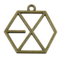 Zink-Aluminium-Anhänger, Zinklegierung, Sechseck, antike Bronzefarbe plattiert, 24x23x2mm, Bohrung:ca. 2mm, 200PCs/Tasche, verkauft von Tasche