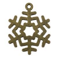 Zink-Aluminium-Anhänger, Zinklegierung, Schneeflocke, antike Bronzefarbe plattiert, 23x29x1.50mm, Bohrung:ca. 1.5mm, 200PCs/Tasche, verkauft von Tasche