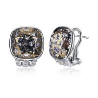 Österreichischer Kristall Ohrring, Messing, mit Österreichischer Kristall, Quadrat, versilbert, für Frau & facettierte, frei von Blei & Kadmium, 13x16mm, verkauft von Paar